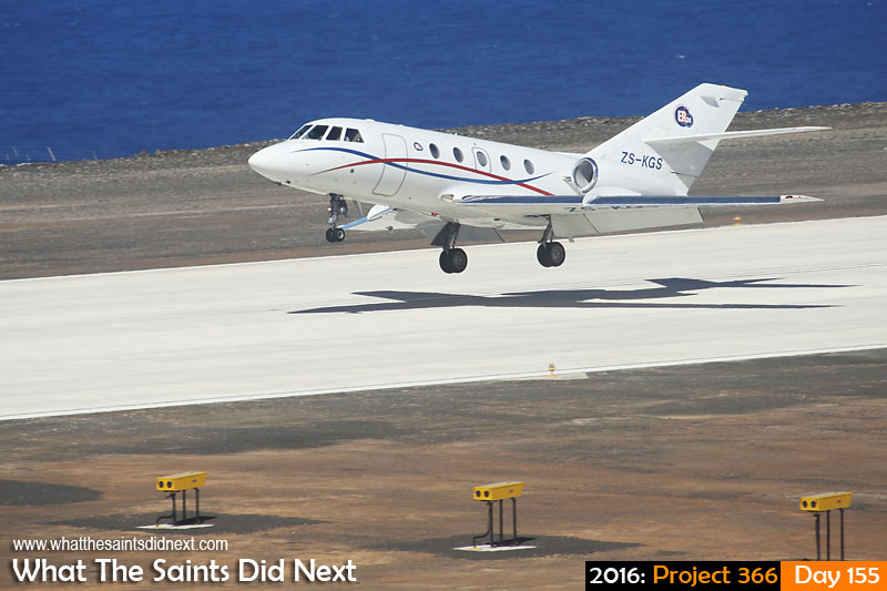 'Trust' 3 June 2016, 13:53 - 1/800, f/8, ISO-200 What The Saints Did Next - 2016 Project 366 A Guardian Air, Dassault Falcon 20, lands on St Helena, to carry out the island's first medevac by air.