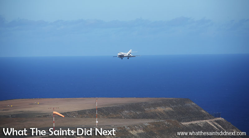 The Dassault Falcon 20, landing from the southern approach (runway 02) at St Helena Airport.