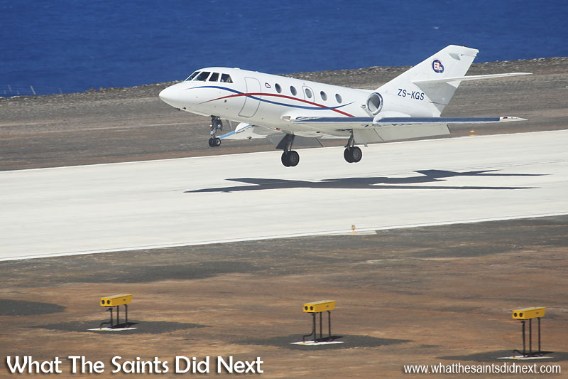 Touching down at 13:53 on Friday 3 June, 2016, a Guardian Air, Dassault Falcon 20, air ambulance arrives at St Helena Island becoming the very first air medevac flight to land. On board is a medical team from South African, ER24, Emergency Medical Services. The aircraft landed from the southern approach, (runway 02) as wind shear which affects the northern approach continues to be investigated.