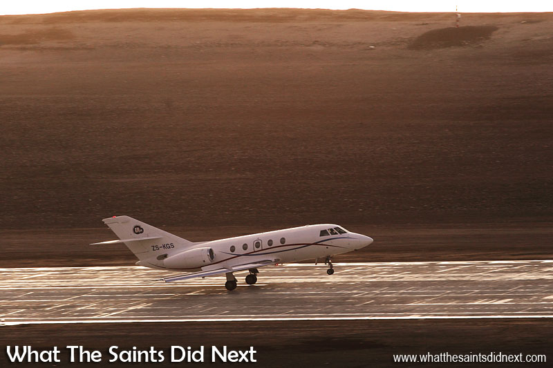 07:34, 4 June 2016. History is made as the very first medical evacuation by air from St Helena, lifts off from the new airport on Prosperous Bay Plain. The Dassault Falcon 20, operated by Guardian Air, begins the flight to Cape Town, estimated to take 3hr 58mins, much faster than the previous 5 day voyage by ship for all medevacs from St Helena. On board, a mother and a newborn baby needing specialist care.