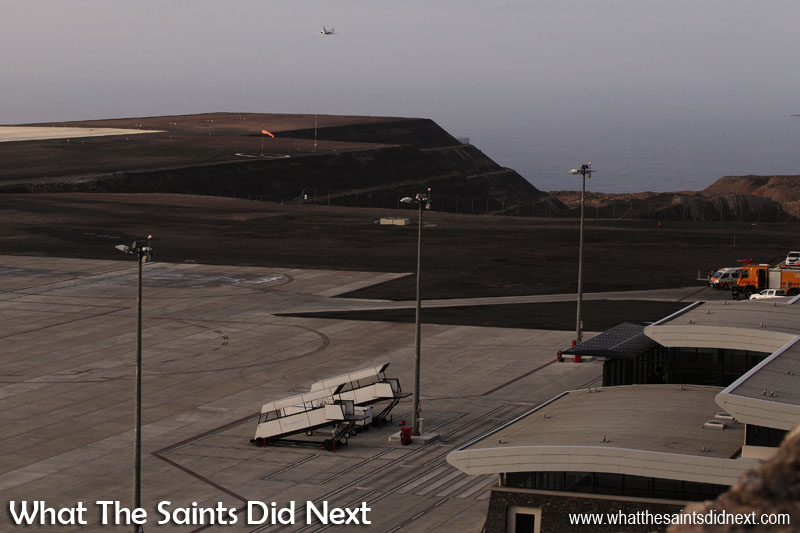 The first ever medevac by air from St Helena takes off into an overcast morning.