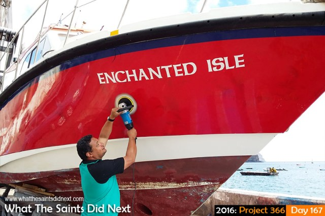 'To Hull and back' 15 June 2016, 14:47 - 1/303, f/2.4, ISO-50 - Samsung Galaxy A3 What The Saints Did Next - 2016 Project 366 Enchanted Isle boat maintenance, Jamestown, St Helena.