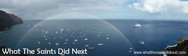 The panoramic feature on the Panasonic Lumix DMC-FT5 is used to capture this dramatic rainbow in James Bay over the anchorage with the RMS St Helena almost ready to sail away.