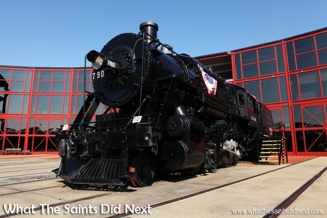 Illinois Central No. 790. Originally built in November 1903 for the Chicago Union Transfer Railway Co and is the only surviving locomotive of the company. Rebuilt and modernised in 1918 as a superheated heavy freight locomotive. Sold to Nelson Blount in 1966. Now proudly on display in Steamtown, Scranton in Pennsylvania.