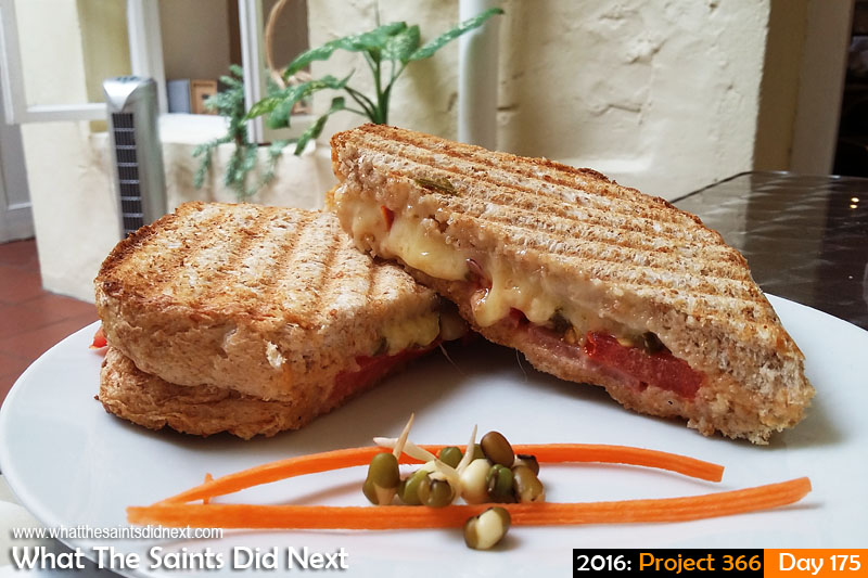 'Sit-in'<br /> 23 June, 2016, 13:43 - 1/33, f/2.4, ISO-50 - Samsung Galaxy A3<br /> Toasted sandwich at the Inkwell Coffee House.