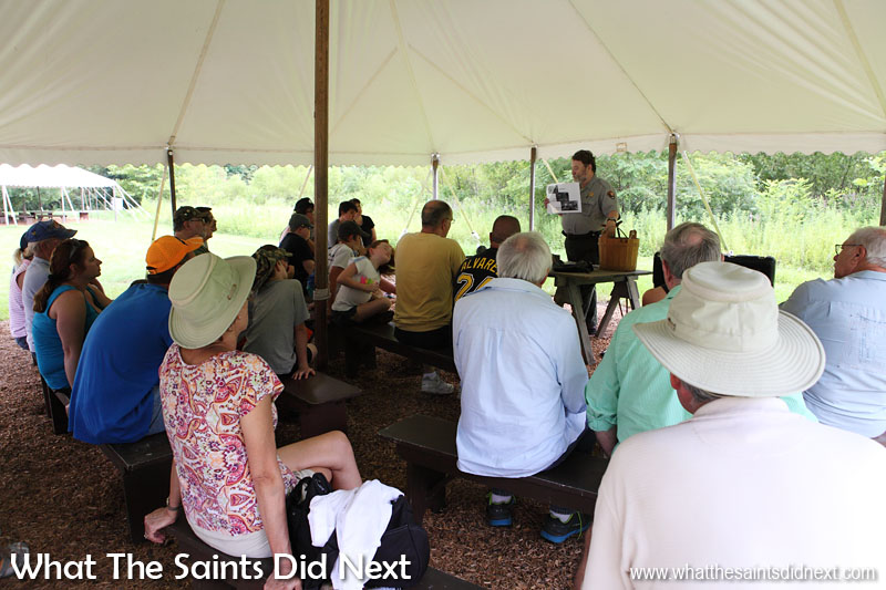 A talk being given in the Gettysburg Visitor Centre grounds about injuries and medical treatments during the American Civil War.