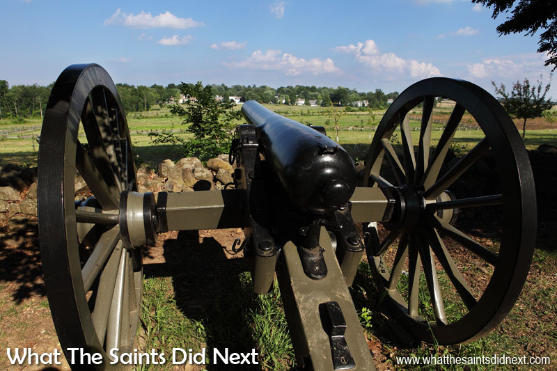 Another model 1857 'Napoleon' field artillery gun on display in the Gettysburg Battlefield.  The Battle of Gettysburg.