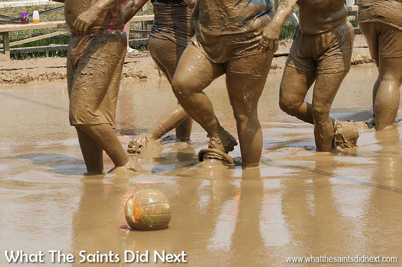 By the time teams swap ends after the first game, everyone is coated in mud. July Fourth celebrations - Mississippi Mud Volleyball Tournament takes place every year in Hannibal, Missouri.