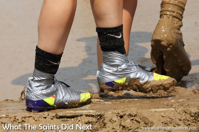 Bladed sports shoes seem to be footwear of choice for grip in the mud, and duct tape is used to try keep mud out. July Fourth celebrations - Mississippi Mud Volleyball Tournament takes place every year in Hannibal, Missouri.