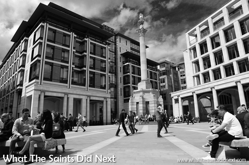 This shot of workers enjoying the sunshine over lunchtime in London, England, is a great example of black and white photography in architecture. This picture works great in black and white because of the strong light, bold lines from the buildings and the lovely textures across the cloudy sky.