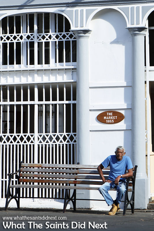 Having a rest outside the Market building in Jamestown, St Helena.