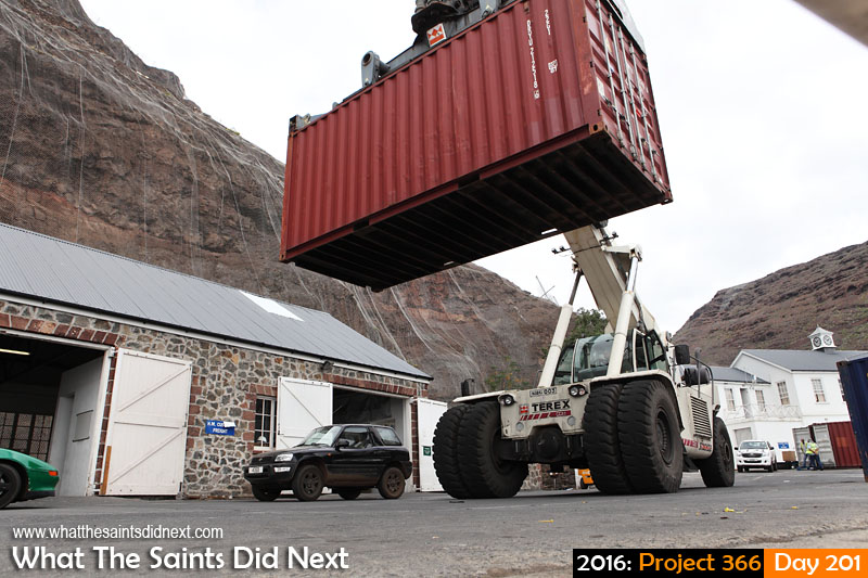 'First Monster'<br /> 19 July, 2016, 13:59 - 1/250, f/10, ISO-200<br /> TEREX, reach stacker, moving shipping containers on the wharf.