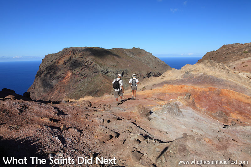 One of our earlier attempts at hiking the Barn, St Helena, a few years back. It's hard to believe looking at this, but the weather turned quite suddenly soon afterwards causing us to abandon the hike and turn back. The coloured soil landscape along this part of the walk is quite beautiful in the sunshine.