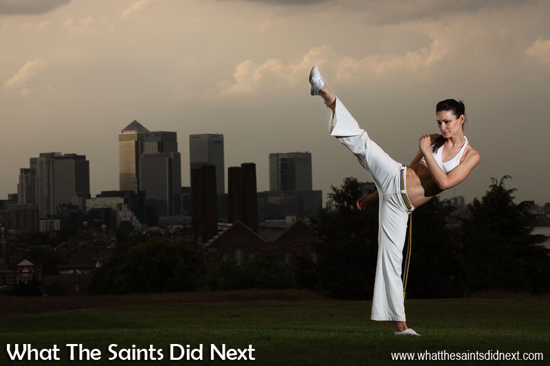 Capoeira photoshoot by What The Saints Did Next in Greenwich Park, London. Model, Renata Martins; Photography, Darrin Henry; Make-up, Sharon Henry