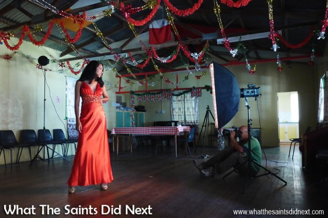 Behind the scenes on the Blue Hill St Helena photoshoot with What The Saints Did Next. Gemma doing a great job working the dance floor on her own.