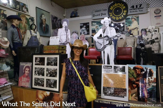 Teenage Sharon would just die! The modest Midnite Jamboree stage where legendary country stars gave live performances inside the Ernest Tubb Record Shop, Nashville, Tennessee.