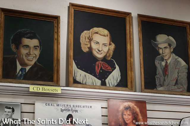 A painting of Audrey Williams, Hank's first wife and Hank Junior's mother. This painting is visible on the wall during the Midnite Jamboree scene in the film 'Coalminer's Daughter' which was shot here, inside the Ernest Tubb Record Shop in Nashville.