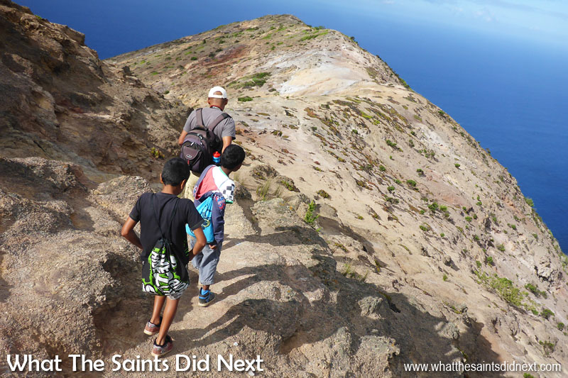 Approaching the final section of ridge. The post box is at the far end, about 5mins to go. Blue Point post box walk, St Helena Island.