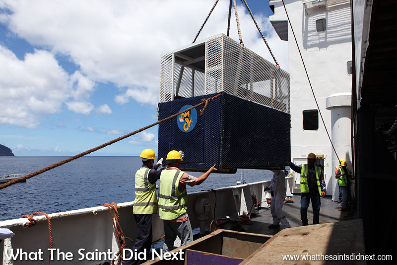 Entry to St Helena continues to be via the sea port of Jamestown. Without berthing facilities, visiting ships are forced to anchor off-shore and tourists transfer to small boats for the journey to shore. For people unable to manage the gangway, often including medevacs, disabled and elderly, this 'air taxi' is used, lifted by cranes onto the barges for the ship to shore journey. Sea access to the island was due to be overtaken by air access in 2016, but problems with wind shear have delayed the opening of the airport.