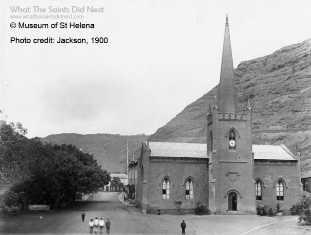 The original spire on St James Church St Helena, erected 7 August 1843 was reluctantly dismantled 137 years later in 1980 because it had become unstable. Made of solid stone it weighed an estimated 37 tonnes and stood 21m (69ft.) The new spire erected in 2016 is much lighter at 5.5 tonnes, made of steel and is shorter at 15m. Photo supplied by Museum of St Helena.