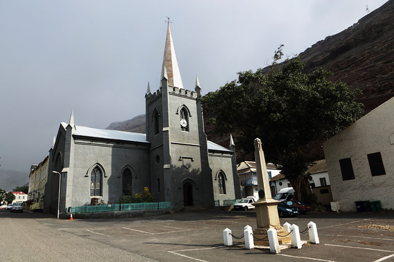 The new and the old. St James Church St Helena in September 2016 with the new spire erected earlier that same month. Much lighter at 5.5 tonnes, made of steel and shorter (15m) than the original, this brand new addition now sits on top of the oldest Anglican church in the southern hemisphere. St James Church clock tower, Jamestown, St Helena.