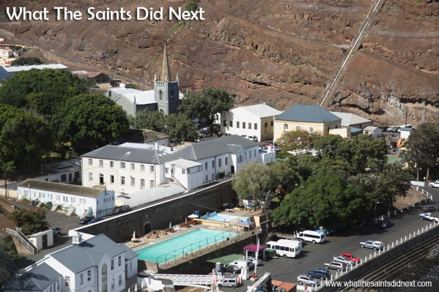 The latest feature added to a familiar view of lower Jamestown; St James church spire rising up against the Ladder Hill backdrop. St James Church clock tower, Jamestown, St Helena.