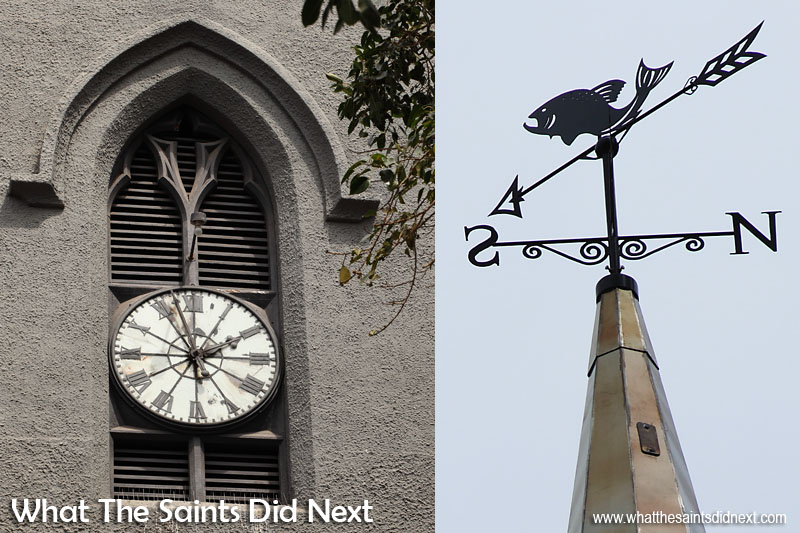Left: The turret clock of St James that looks down onto the Parade Square in Jamestown. Right: A fish weather-vane tops the new spire, in honour of St James the fisherman, and is fitted with a lightning protection system. Although thunderstorms are now unheard off, the history books have recorded a number of occurrences. Back in the late 1800s thunderstorms and sheet lightning happened almost at an annual rate on St Helena. St James Church St Helena.