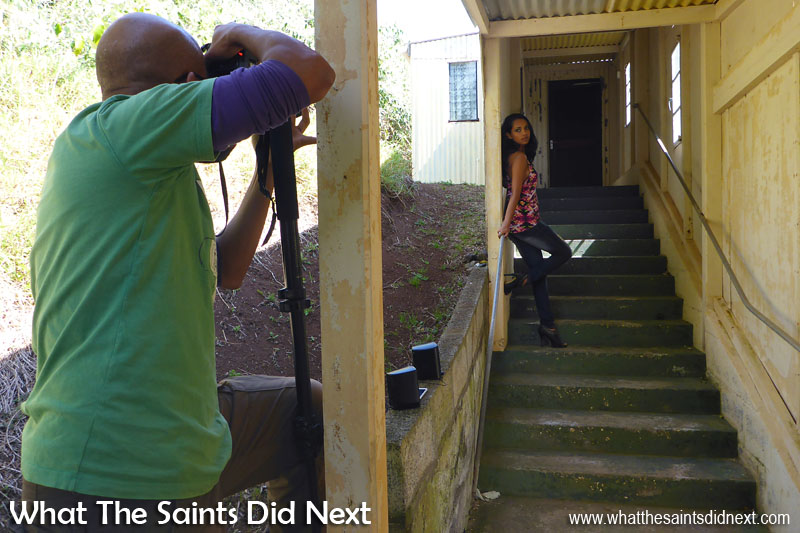 Behind the scenes on the Blue Hill photoshoot with St Helena model, Gemma Lawrence.