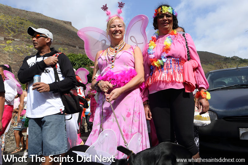 St Helena's Governor, Lisa Phillips (centre) spreading her wings joining in the Cancer Support and Awareness Carnival 2016. This year's theme, 'Taking Flight.'