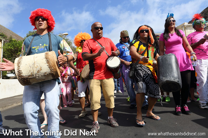 St Helena Carnival 2016 through historic Jamestown, raising funds for local charity, Cancer Support and Awareness. This year's theme, 'Taking Flight' brought out wings of all shapes and sizes.