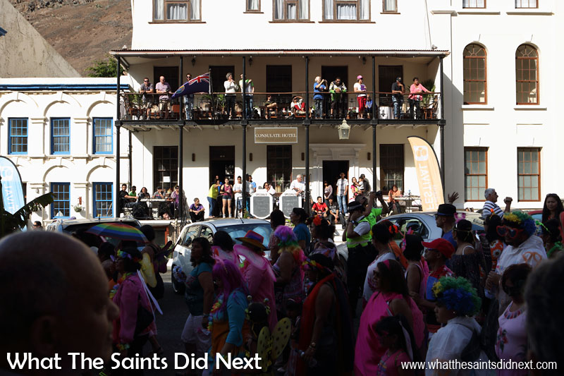 A great turnout for Carnival 2016 through historic Jamestown, St Helena, raising funds for local charity, Cancer Support and Awareness. This year's theme, 'Taking Flight' brought out wings of all shapes and sizes. Moving on to Main Street and past the Consulate Hotel.