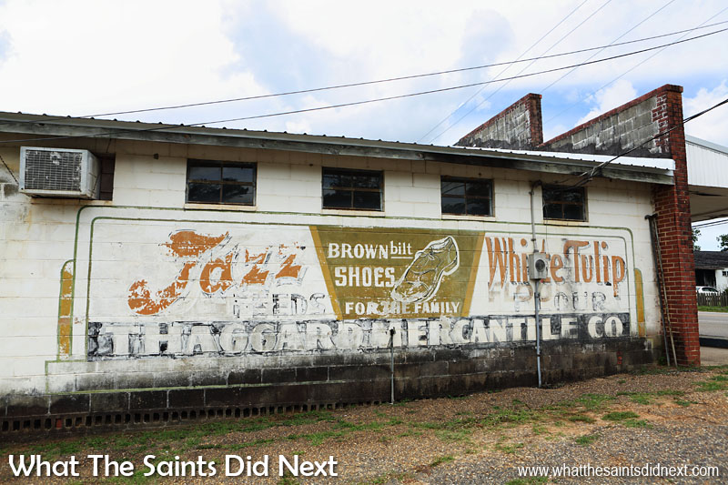 Vintage hand painted signs in Rutledge, Alabama showing Thaggard Mercantile Co advertising brown bilt shoes for the family.