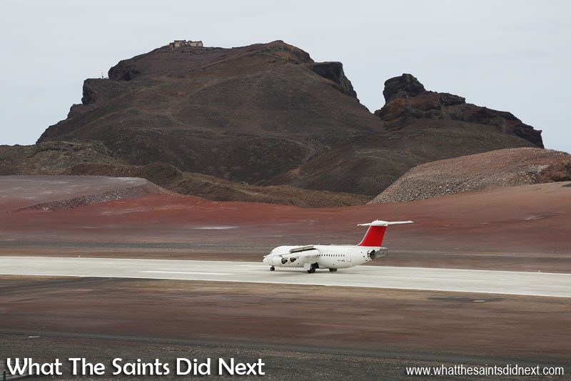 Wheels on the ground and slowing down beneath the headland with Prosperous Bay House on top and King and Queen Rock. Touchdown was at 15:51, Friday 21 October 2016, Atlantic Star's first flight into St Helena Airport on an Avro RJ100 jet, operated by Tronos Jet Maintenance. This flight made its own little piece of history being the first direct air connection between Ascension Island and St Helena.