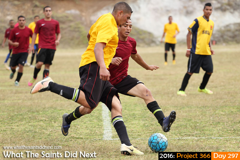 'Radio coverage' 23 October 2016, 17:01 - 1/500, f5, ISO-400 What The Saints Did Next - 2016 Project 366 District football on Francis Plain, St Helena. Half Tree Hollow (yellow) vs Jamestown.