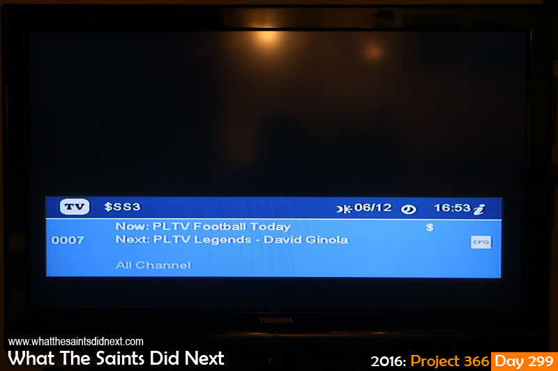 'Oceana' 25 October 2016, 22:01 - 1/60, f4.5, ISO-800 What The Saints Did Next - 2016 Project 366 Seventh consecutive day of loss of certain tv channels including Super Sport 3, the primary football channel.