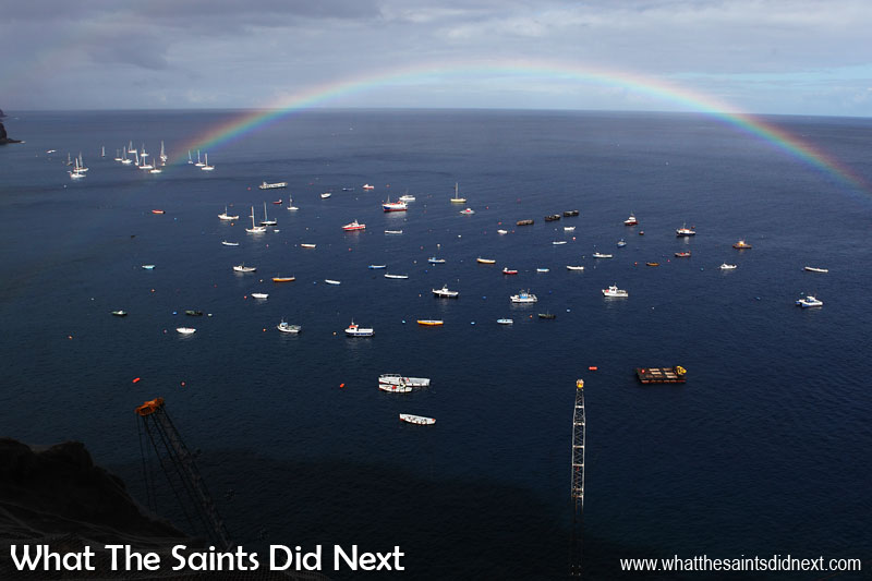 St Helena Tour in Pictures A few minutes after the rain, a February morning rainbow over the Jamestown anchorage. There were plenty of yachts on the moorings at that time as well.