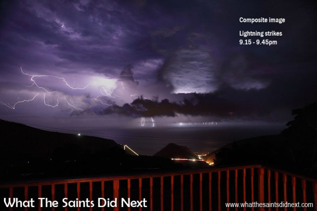 Thunder and Lightning On St Helena - This is a combination edit of approximately 12 photos, taken over a half hour period from 9.15 - 9.45pm, showing the range of lightning strikes off the coast of St Helena during that time.