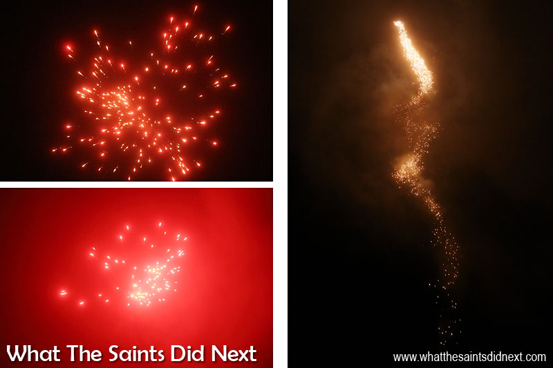Fireworks display rounds the night off. Bonfire night in Sandy Bay, St Helena Island.