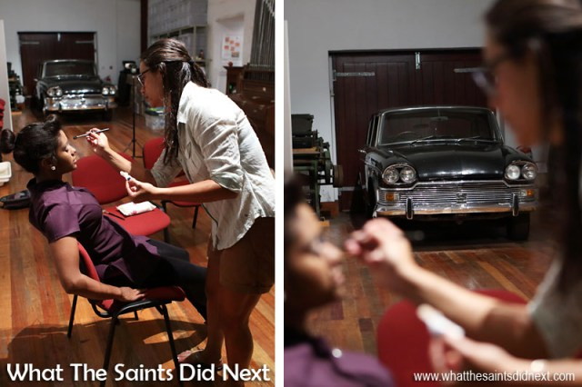 Behind the scenes on the Breeze e-magazine photoshoot. Sharon applying make-up on our model, Emma-Jay Constantine, in the museum gallery room before shooting the Humber car set.