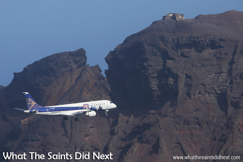 Embraer E190 St Helena Airport flight trials. Prosperous Bay House on top of the hilltop, overlooking the Embraer E190 on northern approach to runway 20.