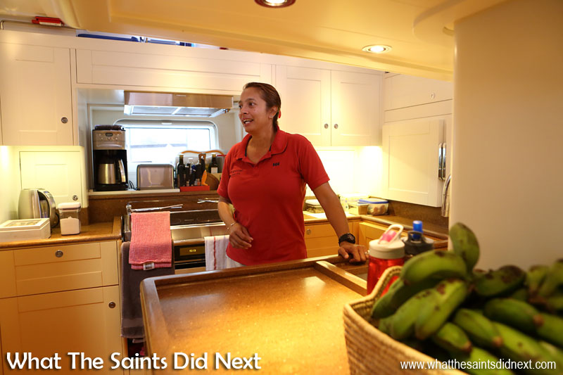 As first mate and also cook, Cheryl is kept very busy. The 'Louise' kitchen is rather nice, bigger than you might expect to find on a yacht.  Girl Meets Boy And Sails Off Into The Sunset To Travel The World.