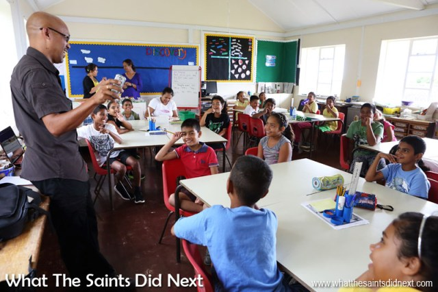 Speaking to class at St Paul's Primary School on St Helena who have been studying journalism. We were invited to talk about blogging with What The Saints Did Next and enjoyed an energetic hour with the pupils who had plenty of great questions.