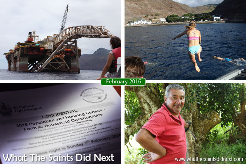 St Helena 2016: The Year In Review - February Clockwise from top left: The 'Castoro 7' pipe-layer platform is towed past St Helena. Students off tall ship, Gulden Leeuw, go snorkelling on the wreck of the Papanui in James Bay. Sandy Bay resident, Campbell Buckley, gives us the inside story of his district. Everyone on St Helena took part in a full population and housing census in February.