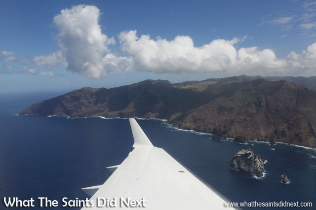 Minute 7 - Aerial view of Speery Island and looking back to Manati Bay and the tip of South West Point. Flying from St Helena Airport.