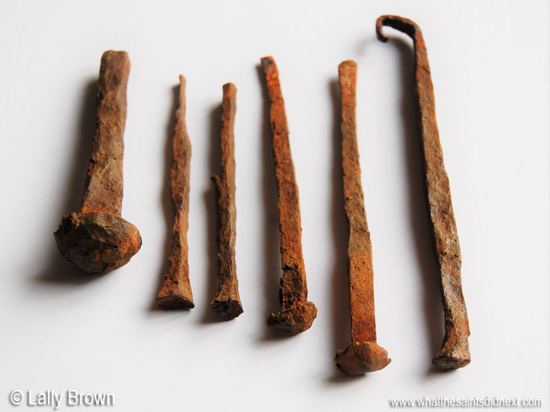 Nails from Bertrand's Cottage, St Helena. Artefacts c. 1800. Picture: Lally Brown.