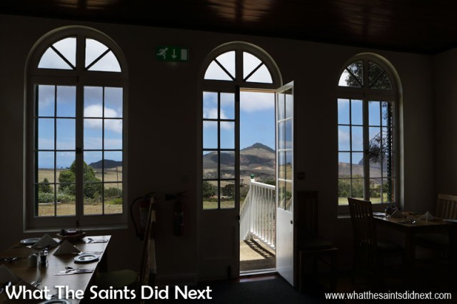 The spectacular view of Deadwood Plain and Flagstaff from inside Ebony Restaurant at Bertrand's Cottage, St Helena.
