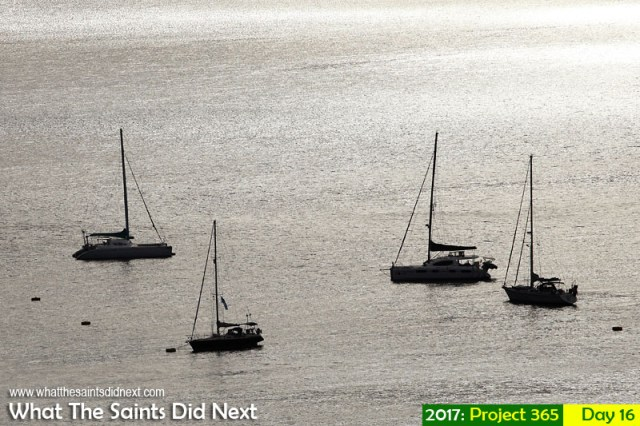 'Eight men' 16 January 2017, 17:27 - 1/1250, f8, ISO-100 What The Saints Did Next - 2016 Project 365. Yachts on the moorings in James Bay, St Helena.