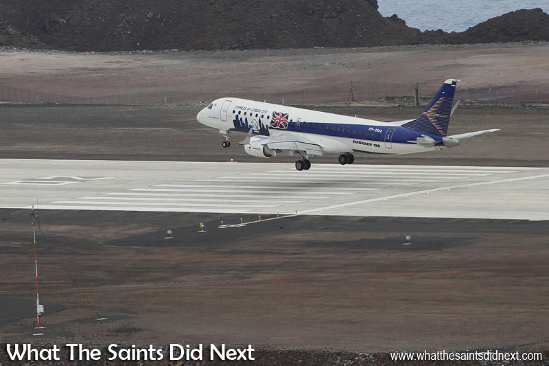 The Embraer E190 at St Helena Airport in November 2016. St Helena Air Service Tender