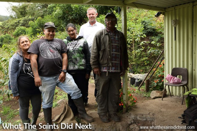The coffee picking crew at the Bamboo Hedge Plantation in Sandy Bay. St Helena Coffee by Solomon & Co.