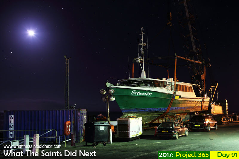 'Cool Konta'<br /> 1 April, 2017, 21:01 - 25sec, f6.3, ISO-400<br /> 'Extractor' fishing boat on the wharf for maintenance.
